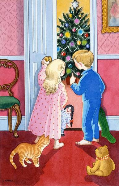 Brothers Painting - Look At The Christmas Tree by Lavinia Hamer
