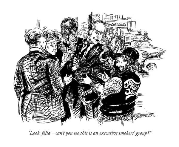 Football Drawing - Look, Fella - Can't You See This Is An Executive by William Hamilton