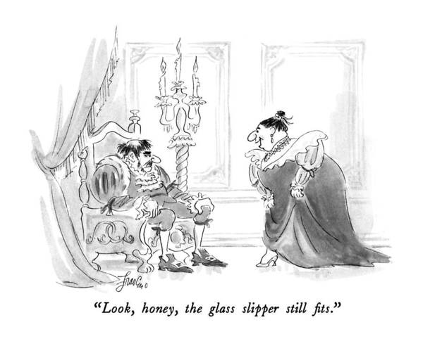 Vanity Drawing - Look, Honey, The Glass Slipper Still Fits by Edward Frascino