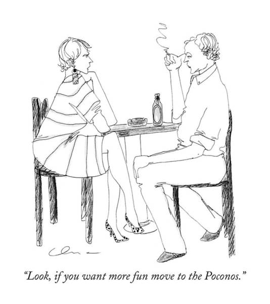Fun Drawing - Look, If You Want More Fun Move To The Poconos by Richard Cline