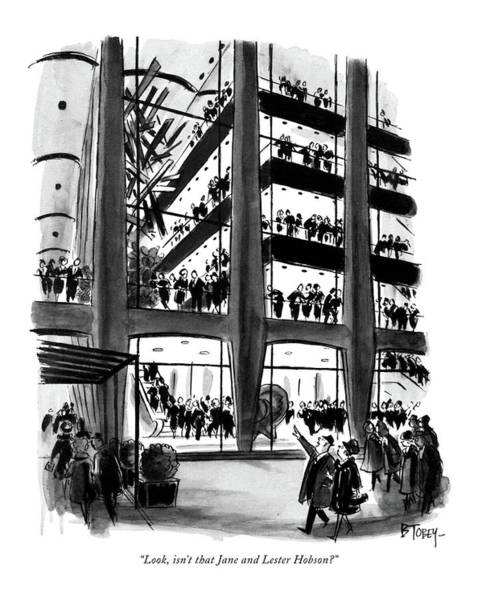 Manhattan Drawing - Look, Isn't That Jane And Lester Hobson? by Barney Tobey