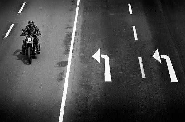 Biker Wall Art - Photograph - Look Left Twice by Marc Apers