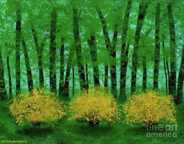 Forsythia Painting - Lookin' Out My Back Door by Hillary Binder-Klein