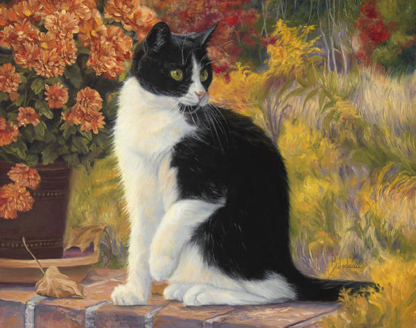 Domestic Cat Wall Art - Painting - Looking Afar by Lucie Bilodeau