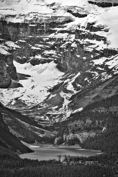 Wall Art - Photograph - Looking Down At Lake Louise - Black And White by Stuart Litoff