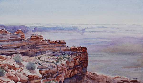 Bluffs Painting - Looking Down From Moki Dugway by Jenny Armitage