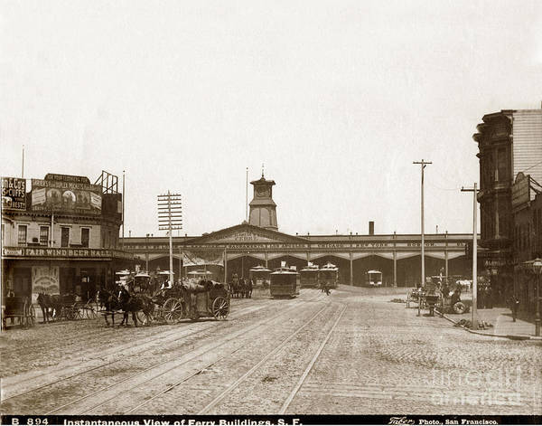 Photograph - Looking Down Market St. To Ferry Building San Francisco California Circa 1883 by California Views Archives Mr Pat Hathaway Archives
