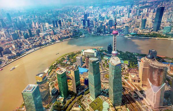 Looking Down Oriental Pearl Tv Tower Art Print