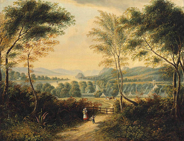 Dumbarton Wall Art - Painting - Looking Down The Clyde River To Dumbarton Rock by Cornelius David Krieghoff
