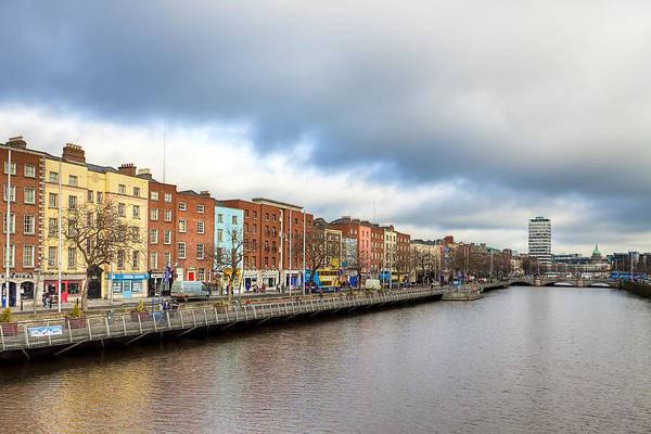 Photograph - Looking Down The River Liffey In Dublin by Mark E Tisdale