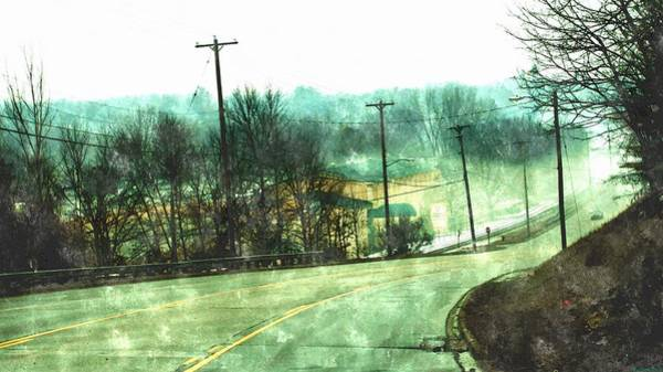Utility Poles Painting - Looking Down To Newaygo Michigan North Bound M-37 Through The Fog by Rosemarie E Seppala