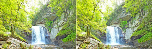 Photograph - Looking Glass Waterfall In The Spring In Stereo by Duane McCullough