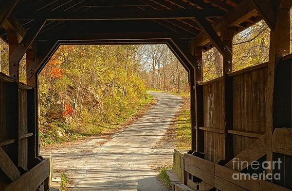 Photograph - Looking Through Herns Covered Bridge by Adam Jewell