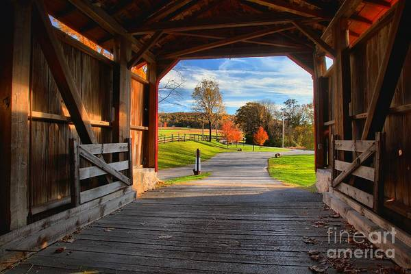 Photograph - Looking Through The Poole Forge Covered Bridge by Adam Jewell