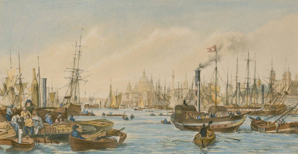 Parrot Painting - Looking Towards London Bridge by William Parrot