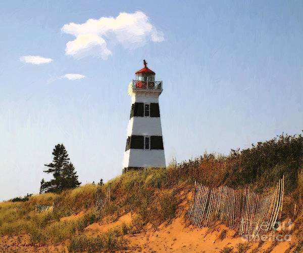 Prince Edward Island Painting - Looking Up From The Dunes At West Point Light by RC DeWinter