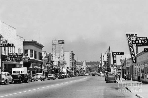 Photograph - Looking Up Pacific Avenue At Elm Street Santa Cruz Circa 1951 by California Views Archives Mr Pat Hathaway Archives