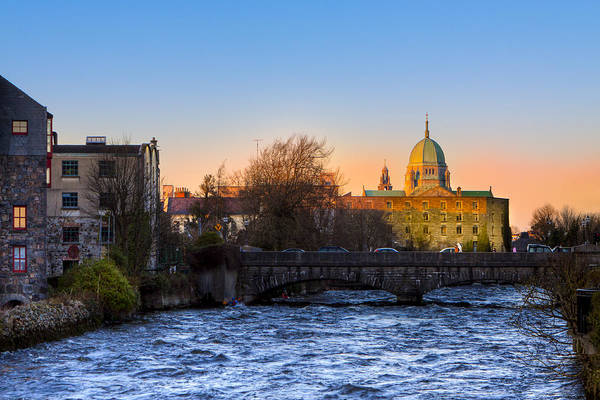Photograph - Looking Up River Corrib To Galway Cathedral by Mark E Tisdale