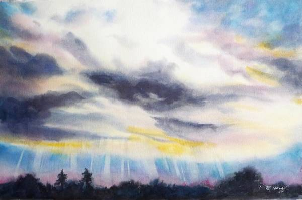 Painting - Looming Clouds by Betty M M   Wong