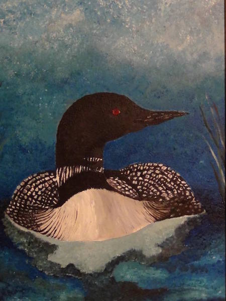 Water Foul Painting - Loon On Float by Christina Parker Kilby