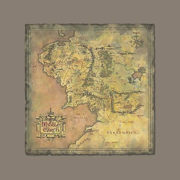 Ring Digital Art - Lor - Middle Earth Map by Brand A