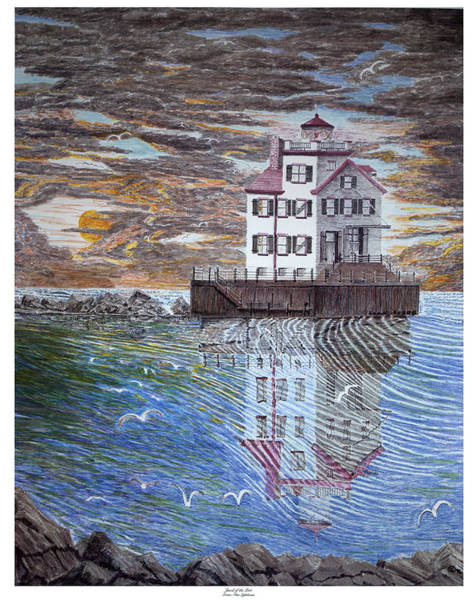 Ohio River Drawing - Lorain Lighthouse by Frank Evans