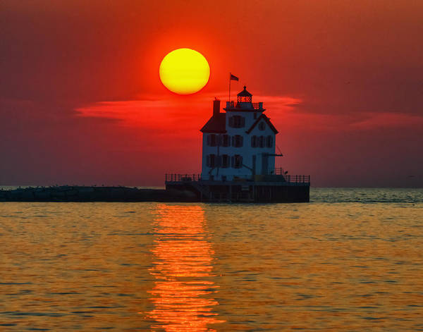 Photograph - Lorain Ohio Lighthouse At Sunset by Richard Kopchock