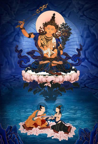 Lord Manjushri - Arya Nargajuna And The Naga Queen Art Print by Ben Christian