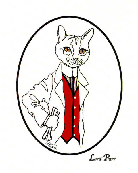 Puss Drawing - Lord Purr by Elia Peters