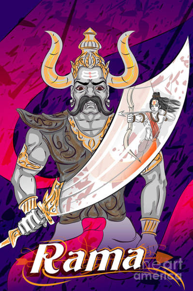 Worship Wall Art - Digital Art - Lord Rama With Demon Ravana In Happy by Vecton