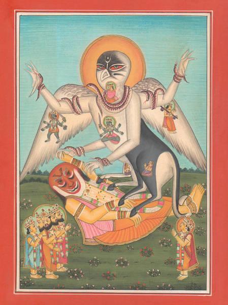 Wall Art - Painting - Lord Sarabha Avtar Hindu God Veda Purana Yoga Vishnu Shiva Shankar  by A K Mundhra