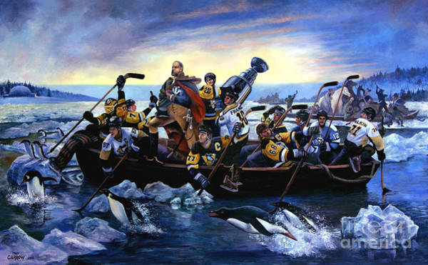 Hockey Painting - Lord Stanley And The Penguins Crossing The Allegheny by Fred Carrow