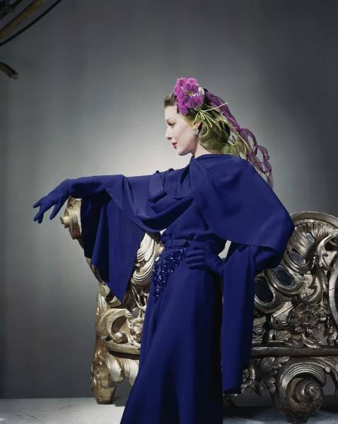 Blue Flower Photograph - Loretta Young In Blue Dress by Horst P. Horst