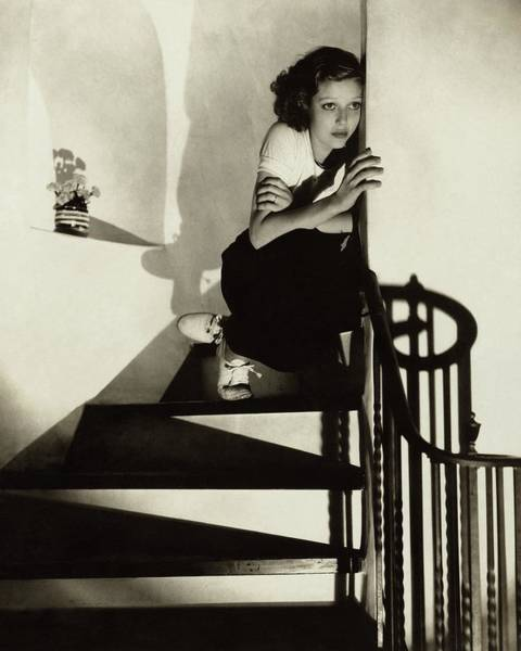 Wall Photograph - Loretta Young Sitting On A Staircase by Edward Steichen