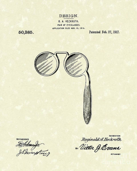 Drawing - Lorgnette 1917 Patent Art by Prior Art Design