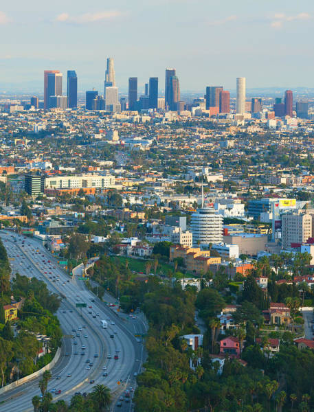 Mulholland Photograph - Los Angeles Basin And Los Angeles Skyline by Ram Vasudev