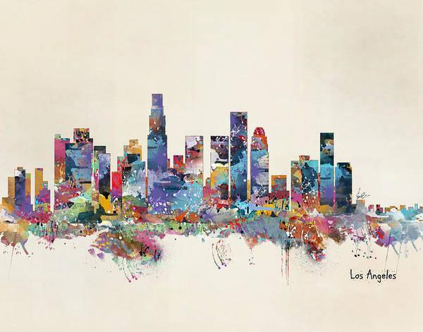 Wall Art - Painting - Los Angeles California Skyline by Bri Buckley