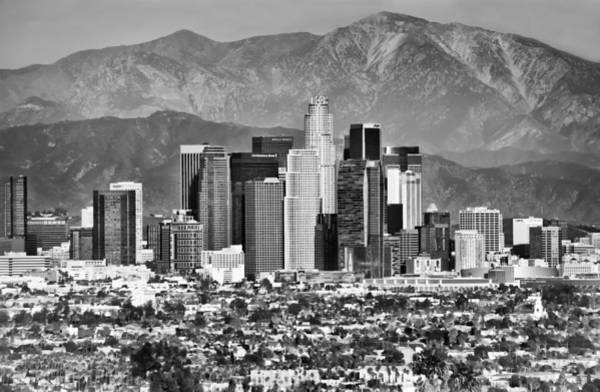 Far Away Wall Art - Photograph - Los Angeles California Skyline - Black And White by Gregory Ballos