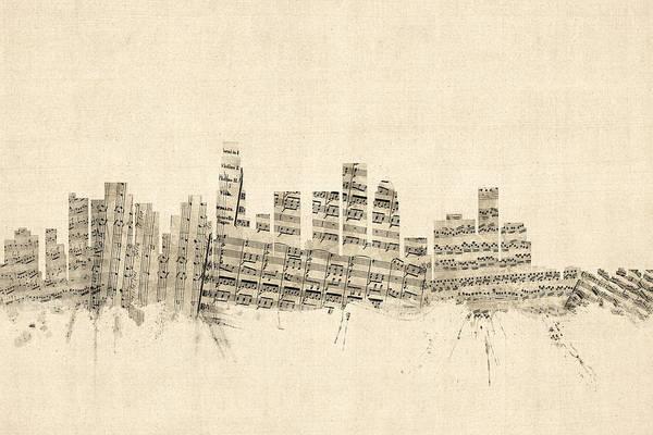 California Digital Art - Los Angeles California Skyline Sheet Music Cityscape by Michael Tompsett