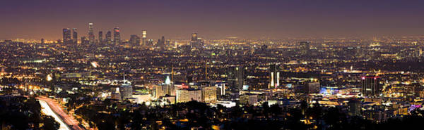 Los Angeles Skyline Photograph - Los Angeles City Skyline At Night by Georgia Fowler