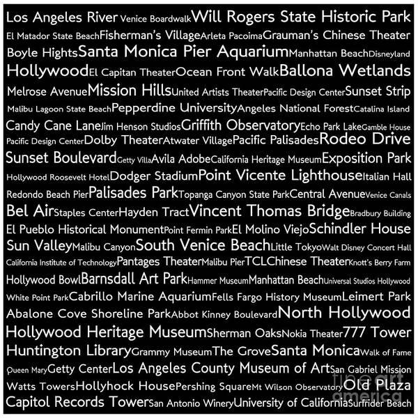 California Oak Digital Art - Los Angeles In Words Black by Sabine Jacobs