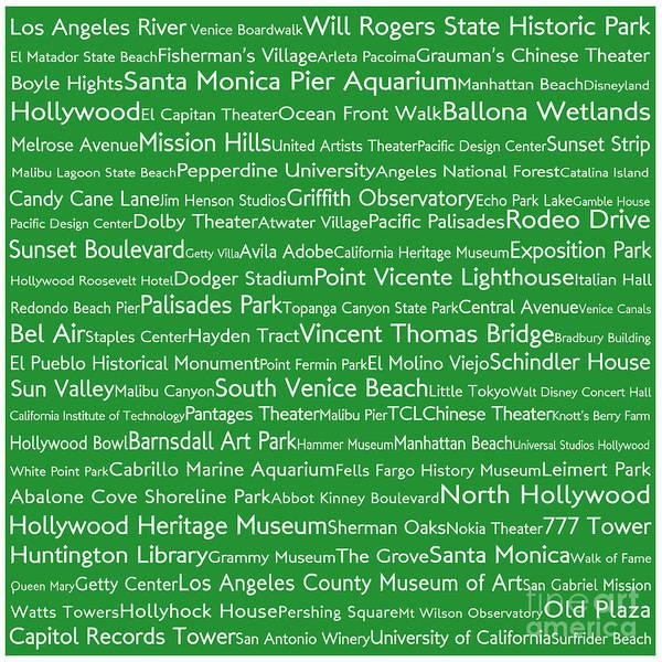 California Oak Digital Art - Los Angeles In Words Green by Sabine Jacobs