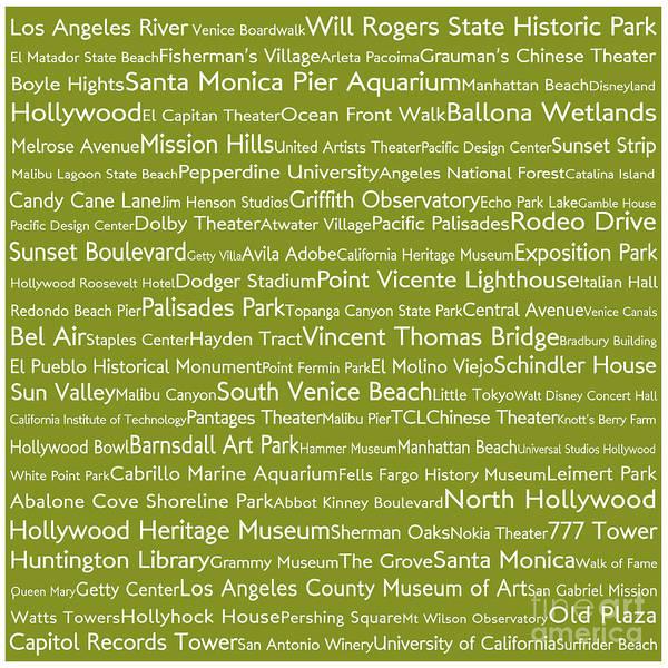 California Oak Digital Art - Los Angeles In Words Olive by Sabine Jacobs