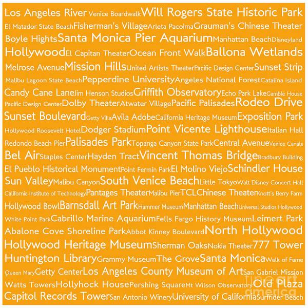California Oak Digital Art - Los Angeles In Words Orange by Sabine Jacobs