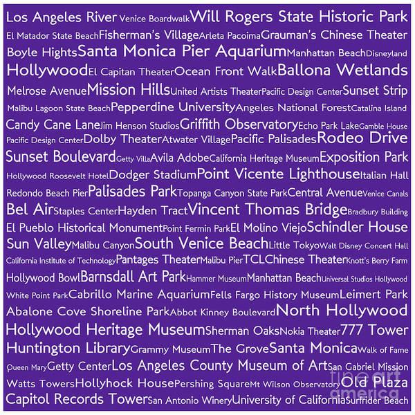 California Oak Digital Art - Los Angeles In Words Purple by Sabine Jacobs