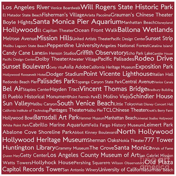California Oak Digital Art - Los Angeles In Words Red by Sabine Jacobs