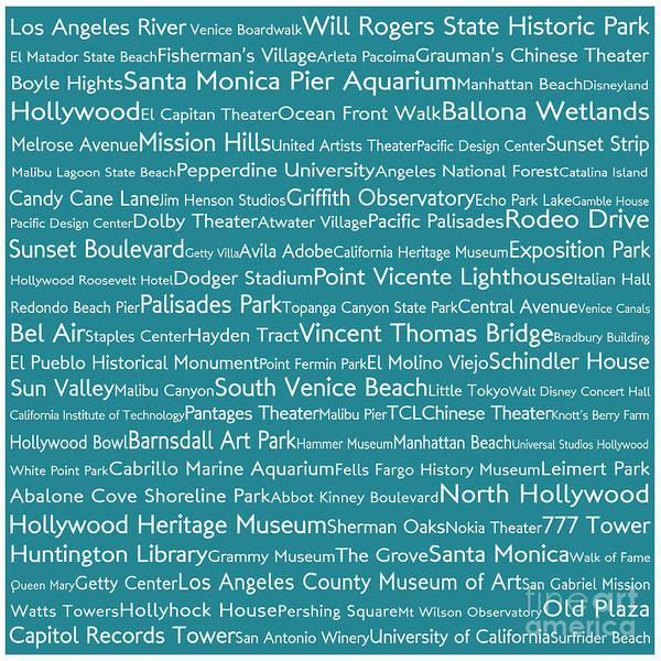 California Oak Digital Art - Los Angeles In Words Teal by Sabine Jacobs