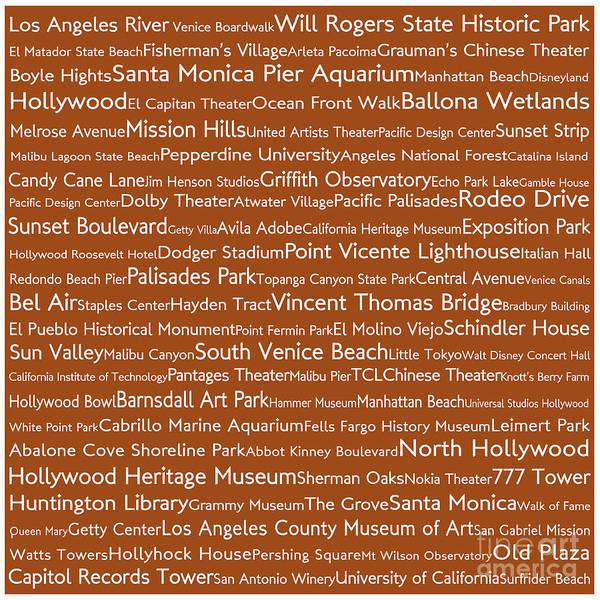 California Oak Digital Art - Los Angeles In Words Toffee by Sabine Jacobs