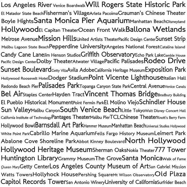 California Oak Digital Art - Los Angeles In Words White by Sabine Jacobs