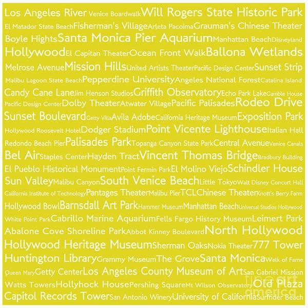 California Oak Digital Art - Los Angeles In Words Yellow by Sabine Jacobs